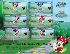 Minnie Mouse Play Money, Printable Play Money by AmorPrintables on Etsy Mickey Mouse Clubhouse, Minnie Mouse Party, Mouse Parties, Diy Eid Cards, Printable Play Money, Monopoly Money, Disney Activities, Dollar, Party Favor Bags