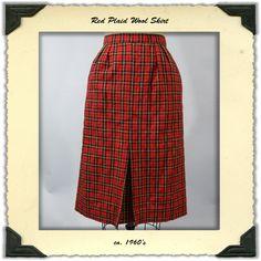 Vintage 1960's Wool Plaid Pencil Skirt Red by NobleSavageVintage, $35.00