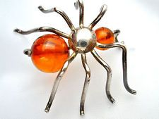 Sterling Silver Baltic Amber Spider Brooch Vintage Lapel Figural Pin Jewelry