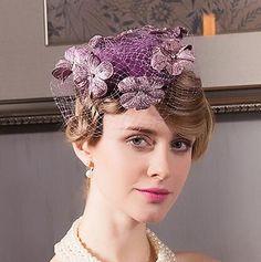 Elegant flower pillbox hat with veil for women purple wool occasion hats 235de740fe79