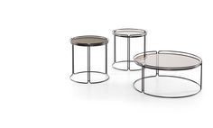 Small round table with wooden plan in eucalyptus and brown base. Small round tables with Smokey glass plane and anthracite base.