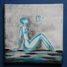 TX 1 - Peinture sur acrylique dans les tons bleu, femme nue assise