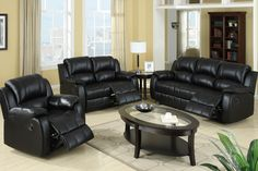 Modern Black Leather Plush Reclining Sofa Loveseat Motion Couch Living