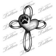 Paw Print, Heart, Cross | Design #1 #98916 | CreateMyTattoo.com