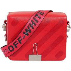 Off White Women Diagonal Stripes Leather Shoulder Bag (3.225 BRL) ❤ liked on Polyvore featuring bags, handbags, shoulder bags, red, genuine leather purse, shoulder hand bags, shoulder strap bags, leather shoulder handbags and red leather shoulder bag