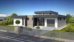 Modern House Facades, Modern Bungalow House, House Plans Mansion, My House Plans, Small Modern House Plans, Contemporary House Plans, Flat Roof House, Facade House, Unique House Design