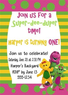 Birthday Invitation • Barney Theme • Free economy shipping • Fast turnaround time • Great customer service • These birthday invitations are custom, high resolution digital files that are personalized for each customer upon order
