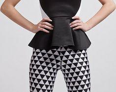 Tribal Carnivale Triangles Black and White Super High Waisted leggings