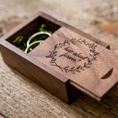Engraved Wood Ring Box ( Ring Bearer Box, Wedding Ring Box, Rustic Proposal Engagement Ring Box in Maple or Walnut Wood ) Ring Pillow Wedding, Wedding Ring Box, Wedding Boxes, Diy Wedding, Wedding Blog, Wedding Ideas, Wedding Planning, Dream Wedding, Wedding Inspiration