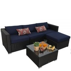5 Piece Patio Wicker Sofa Set polyester cover (machine washable) removable tempered glass (wipe clean) commercial grade PE outdoor rattan (weather-resistant) powder coated steel frame (rust resistant and against paint off) Sectional Furniture, Wicker Patio Furniture, Furniture Slipcovers, Wicker Sofa, Sectional Sofa, Rattan, Brown Cushions, Couch Cushions, Modern Glass Coffee Table