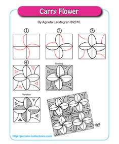 Carry Flower Tangle, Zentangle Pattern by Agneta Landegren Zentangle Drawings, Doodles Zentangles, Doodle Drawings, Tangle Doodle, Zen Doodle, Doodle Art, Doodle Patterns, Zentangle Patterns, Flower Patterns