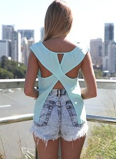 Blue Sleeveless Asymmetric Top with Open Cross Back,  Top, semi sheer  open back, Casual   Love This Color!