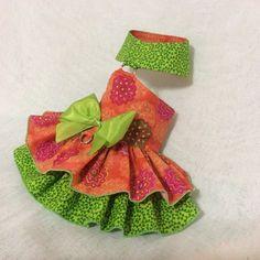 Orange-Green Dog Dress by LittlePawsBoutique on Etsy