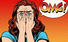 Illustration of Surprised OMG shocked woman pop art retro style. The girl in the emotions. Wow effect vector art, clipart and stock vectors. Pop Art Vintage, Art Pop, Desenho Pop Art, Pop Art Wallpaper, Magazines For Kids, Eminem, Retro Fashion, Halloween, Vector Free