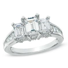 2 CT. T.W. Certified Emerald-Cut Diamond Three Stone Ring in 14K White Gold (H-I/SI2-I1)