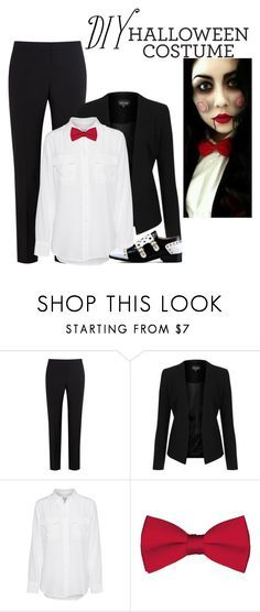 """""""DIY Halloween Costume: Jigsaw"""" by directioner-123-ii ❤ liked on Polyvore featuring Paul Smith Black Label, Topshop, Equipment, Boutique Moschino and DIYHalloween"""