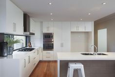 Open plan kitchen with lots of storage space