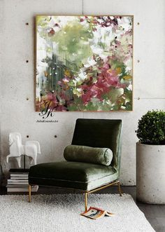 Original green abstract painting, custom oil painting, large canvas art, green red wall art, texture painting for living room by Julia Kotenko - Large abstract acrylic painting wall art wall decor modern painting with texture abstract painting - Red Wall Decor, Red Wall Art, Modern Wall Decor, Room Decor, Large Canvas Art, Large Wall Art, Large Art, Texture Art, Texture Painting