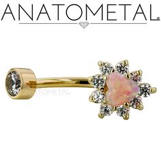 "3/8"", 14ga Gold Heart Navel Curve in solid 18k yellow gold with CZ and synthetic Opal #8 gems"