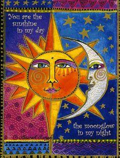 Laurel Burch Any Occasion Glossy Deluxe Card Celestial Sun And Moon New Laurel Burch, Sun Moon Stars, Sun And Stars, Art Soleil, Moon Shadow, Bulletins, Sun Art, Moon Design, Arte Popular