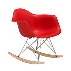 Rocking Chair, Red PP, Chrome/Wood Base