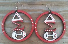 Delta Sigma Theta Earrings by GiGisBodyBoutique on Etsy https://www.etsy.com/listing/230946496/delta-sigma-theta-earrings
