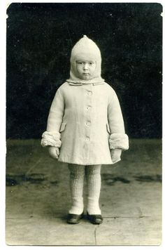 itchy wool coat & hat & also leggins on little girl