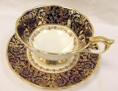 Rare Antique Royal Stafford Tea cup - Gold and black teacup - wedding gift, Christmas gift, bridal tea, vintage tea cup , tea party Cup And Saucer Set, Tea Cup Saucer, Tea Cups, Coffee Cups, Royal Stafford, Fine Porcelain, Black Coffee, Fine China, Rare Antique