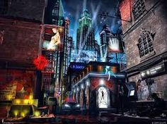 Image result for cyberpunk cafe