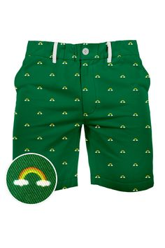 Green Rainbow printed shorts. St. Patrick's Day