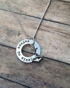 Anchor Necklace, Refuse to Sink, custom hand stamped jewelry with anchor charm, personalized jewelry, anchor jewelry, hope anchors the soul