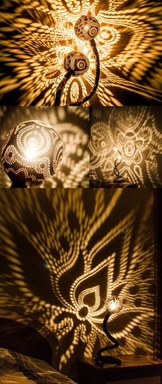 Artist from Lithuania, Vainius Kubilius, creates lamps from coconuts that fills the room with mesmerising light patterns..