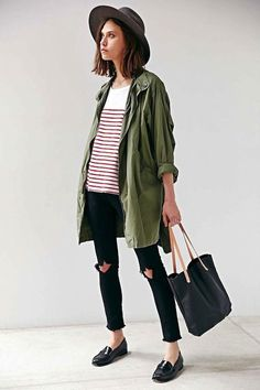 casual cool - army green shirt, stripes, ripped jeans + loafers