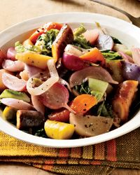 Braised Root Vegetables and Cabbage with Fall Fruit | Contributed By: Alian Ducasse | Chef Way Alain Ducasse uses six pots to cook each type of vegetable on its own, then layers them in a baking dish.  Easy Way For the simplified version of Ducasse's fruit-and-root-vegetable stew, everything cooks in one big pot. \ From: foodandwine.com