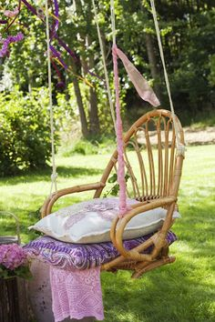 Swing seat. Going to do this for my garden at school. I have an old chair just sitting around.
