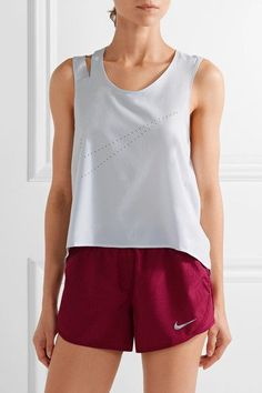 Nike - Flex Training Perforated Dri-fit Stretch Tank - Light gray - x large