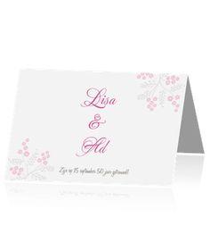 Chique jubileumkaarten maken met roze bloemetjes. Een mooie kaart voor uw jubileumfeest.