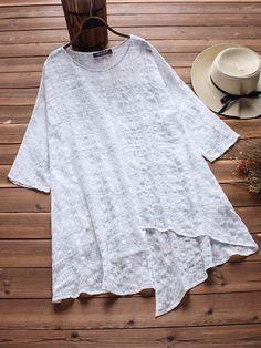 Women Plaid 3/4 Sleeve Irregular Hem Vintage T-shirts