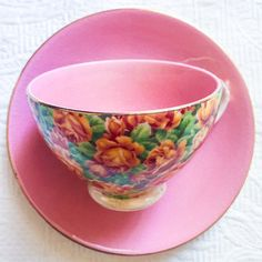 Vibrant Pink Floral 1940's Leighton Teacup and by TheBelovedTeacup