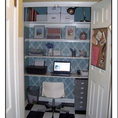 home office closet. Need An Office But Don\u0027t Have The Space? Check Out This Lovely Cloffice. Closet Perfect For Tight Spaces And Even Better Hiding Away With A Close Home
