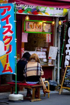 Icecream shop from Asakusa street, Tokyo_ Japan
