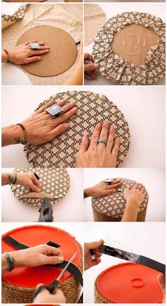 Eu Amo Artesanato: Pufe de latão de plástico passo a passo Homemade Home Decor, Diy Home Decor Easy, Diy Home Crafts, Diy Craft Projects, Diy Room Decor, Diy Para A Casa, Moldes Para Baby Shower, Diy Pouf, Painted Baskets