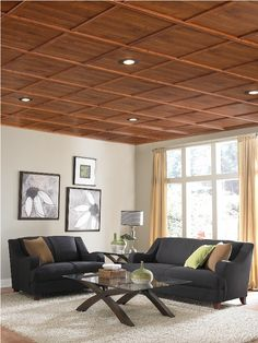 great way to upgrade ugly dropped ceiling that screams basement woodtrac moldings snap onto a standard 15 wide metal suspended ceiling grid Acoustic Ceiling Tiles, Drop Ceiling Tiles, Ceiling Grid, Dropped Ceiling, Ceiling Panels, Basement Makeover, Basement Renovations, Drop Ceiling Makeover, Basement Ceiling Options