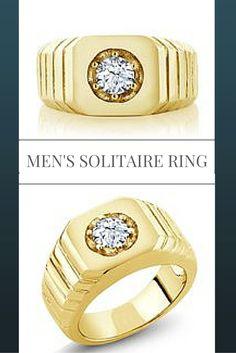 0.50 Ct Round White VS Topaz 18K Yellow Gold Plated Silver Men's Solitaire Ring #GemStoneKing #men #ring #SolitaireRing #Topaz #RingForMen