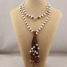 C-B001 Tassel necklace,leather tassel necklace,party tassel necklace,pearl necklace,bohemian necklace,brown tassel necklace,boho necklace