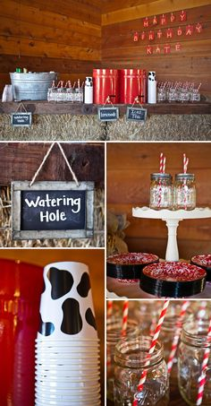 Barnyard Boogie Birthday Bash: The Watering Hole - complete with cow print cups, mason jar drinking glasses, red striped straws, galvanized steel bucket and red drink dispensers.  The chalkboards used to identify the drinks are a wonderful detail.