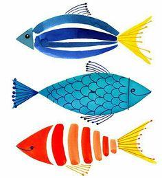 Amanti Art Summer Fish Trio 19 x 25 gerahmter Kunstdruck - drawing Pinterest Pinturas, Art Encadrée, Fish Design, Painting Inspiration, Sketchbook Inspiration, Journal Inspiration, Watercolor Art, Simple Watercolor, Watercolor Pattern