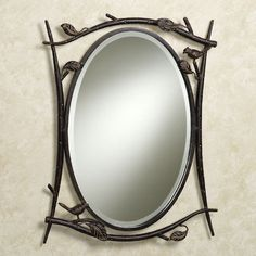 Vintage Vanity Oval Tilt Mirror With Beautiful Wrought Iron Frame
