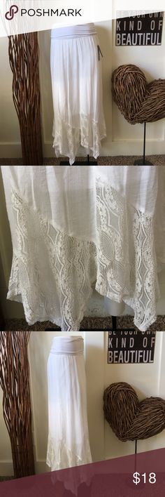 Apt. 9 sheer paper white handkerchief hem skirt This super feminine skirt is sheer with the lined shorter skirt underneath.  Its lace panels at the hemline form a hand kerchief effect.  Soft wide knit waistband for comfort. Apt.9 Skirts Midi