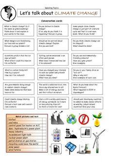Let's Talk about CLIMATE CHANGE worksheet - iSLCollective.com - Free ESL worksheets: